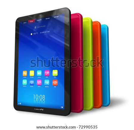 Set of color tablet computers - stock photo