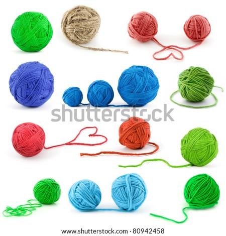 Set of color thread balls - stock photo