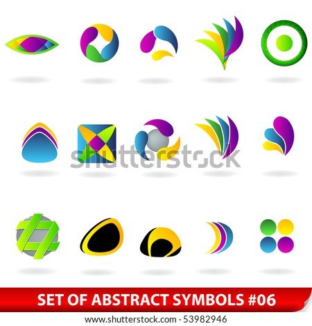 Set of colored abstract symbols. For vector version, see my portfolio