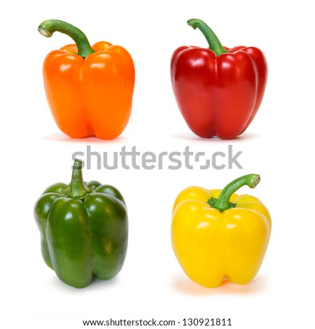set of colored bell peppers - stock photo