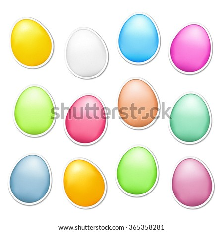 Set of colored easter eggs as stickers