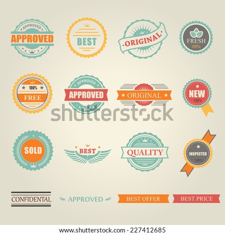 Set of  colored emblems and stamps  depicting  approved  free  original  inspected fresh new sold and best offer price in round and rectangular banner form - stock photo