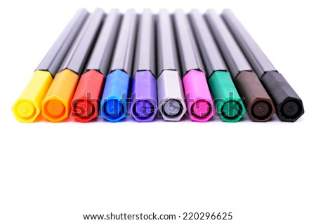 set of colored felt-tip pens for drawing