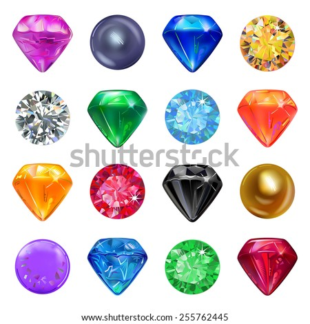 Set of colored gems isolated on white background - stock photo