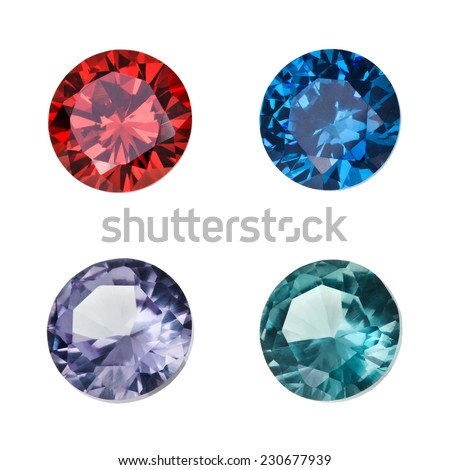 Set of colored gemstones isolated on white background - stock photo