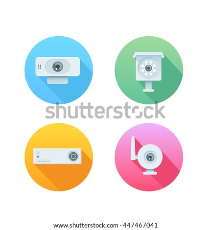 Set of colored icons for website and mobile application. Flat design.
