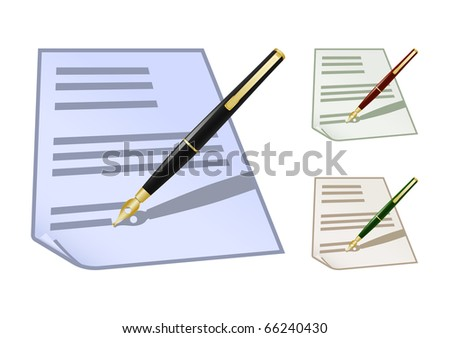 Set of colored note icons with fountain pen. Raster version of vector illustration (id: 60408007)