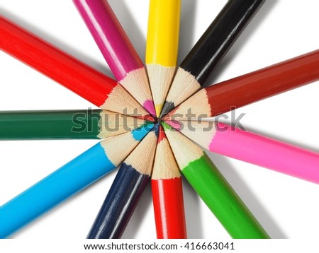 Set of colored pencils on white background - stock photo