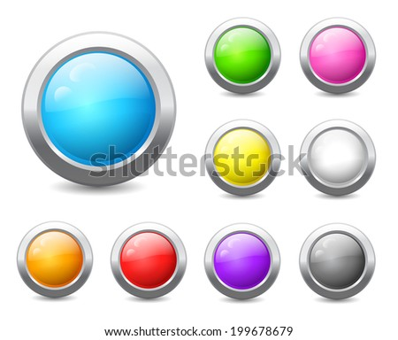 Set of colored round buttons with wavy reflections. Raster version