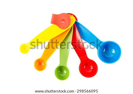 Set of Colored Spoons, Isolated on white background. - stock photo