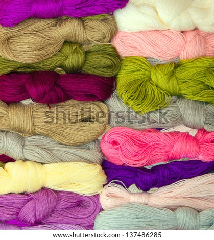 Set of colored threads for embroidery - stock photo