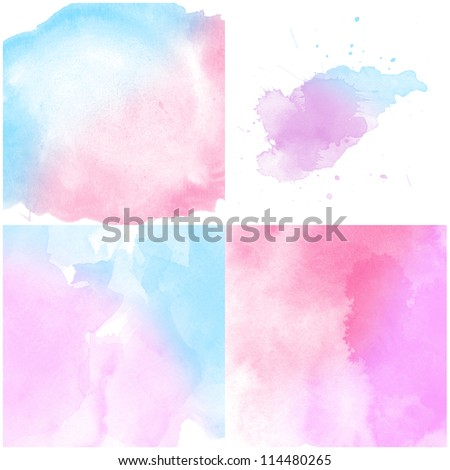 Set of colorful Abstract water color art hand paint background - stock photo