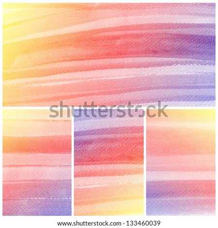 Set of colorful Abstract water color art hand paint background