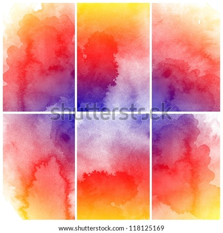 set of colorful Abstract watercolor art hand paint - stock photo