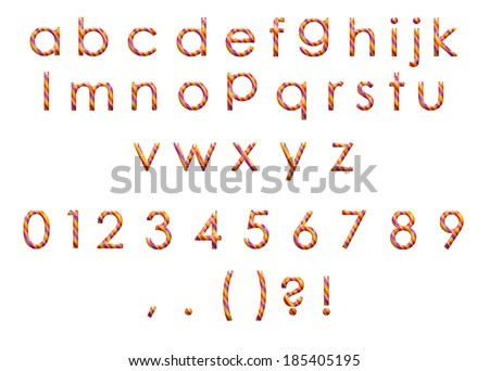 set of colorful alphabet with numbers and punctuation marks - stock photo