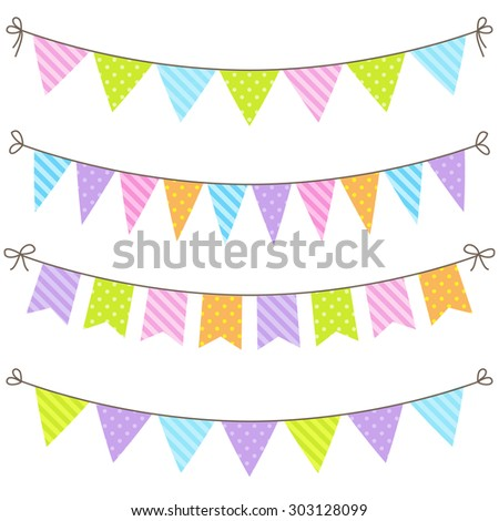 Set of colorful and bright bunting. Raster version - stock photo