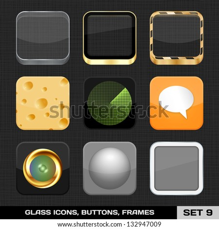 Set Of Colorful App Icon Frames, Templates, Buttons. Set 9. Raster Version - stock photo