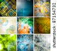 Set of colorful backgrounds. Grunge retro tech style - stock photo