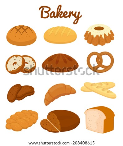 Set of colorful bakery icons depicting pretzels  muffins  loaves of bread  bagel  croissants  cakes and donuts  clipart illustration on white