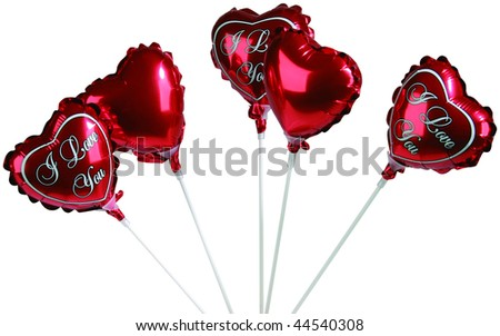 Set of colorful balloons in form of hearts on white - stock photo