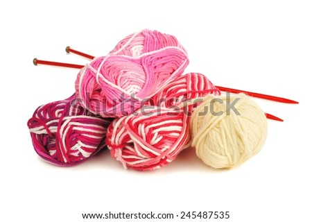 Set of colorful balls of yarn for knitting over a white background - stock photo