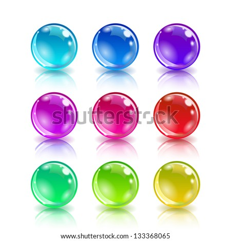 Set of colorful balls on white background, raster version