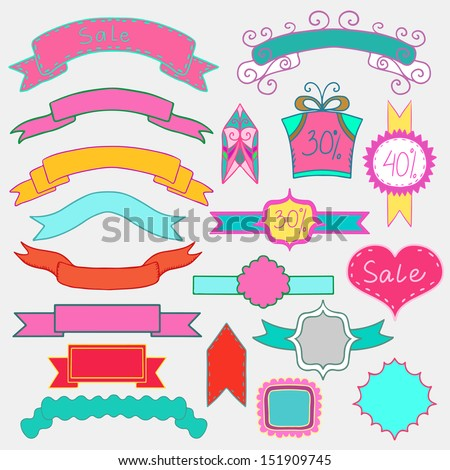 Set of colorful banners, ribbons and frames - raster version  - stock photo