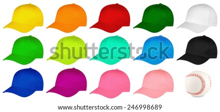 Set of colorful baseball caps - stock photo