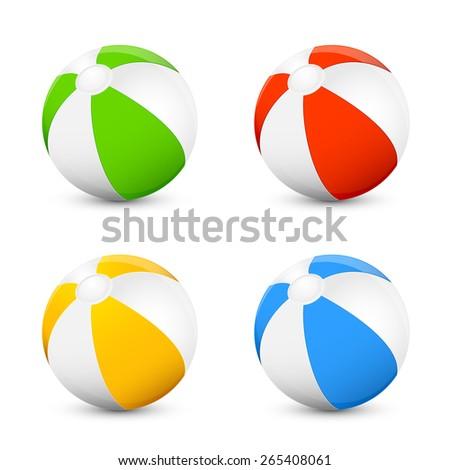 Set of colorful beach balls isolated on white background, illustration. - stock photo