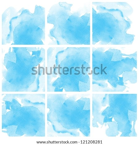Set of colorful Blue Abstract water color art hand paint background
