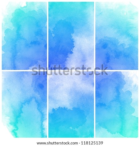 set of colorful blue Abstract watercolor art hand paint - stock photo