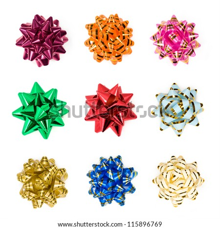 Set of colorful bows isolated on white. Holiday's ribbon bows for decoration gifts - stock photo
