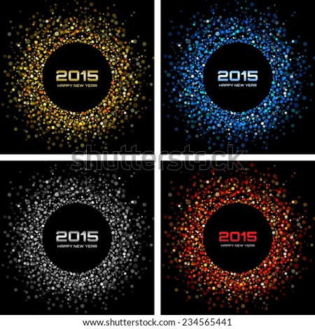 Set of  Colorful Bright New Year 2015 Backgrounds, raster illustration - stock photo