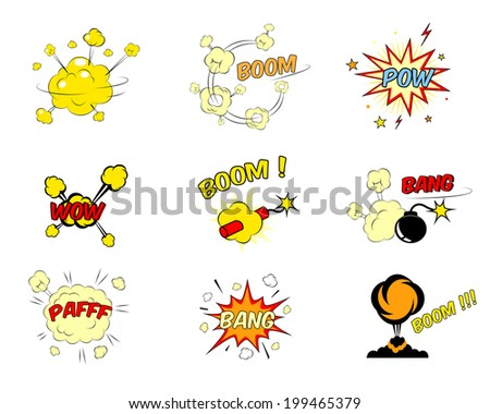 Set of colorful bright red and yellow comic cartoon text explosions depicting a boom  pow  wow  dynamite  bomb  bang  pafff  bang and ground explosion  nine illustration isolated on white - stock photo