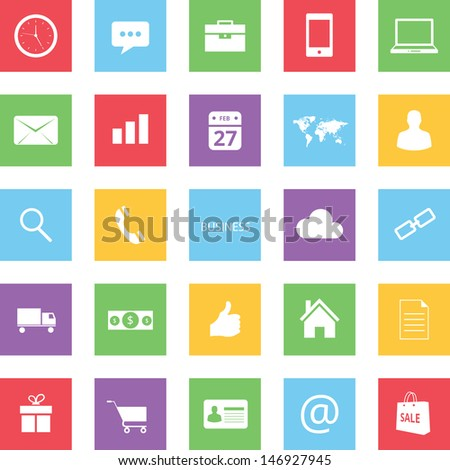 Set of Colorful Business Finance and Ecommerce Icons bitmap copy