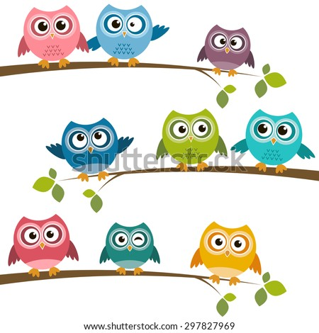 Set of colorful cartoon owls on branches. Raster version - stock photo