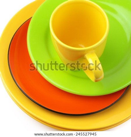 Set of colorful ceramic dishware close-up. Top view point. - stock photo