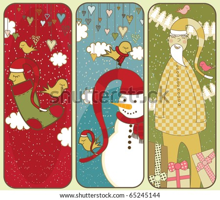 Set Of Colorful Christmas Banners - stock photo