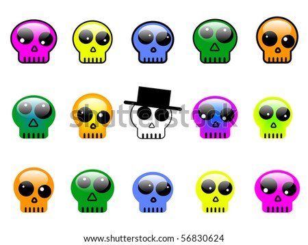 set of colorful 3d skull buttons, symbols or signs