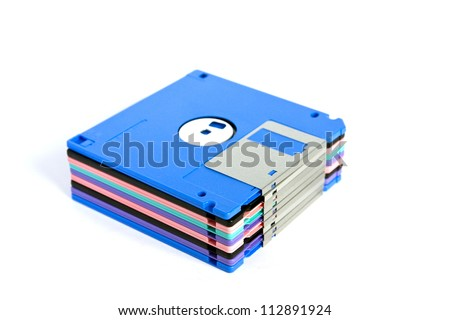 Set of colorful diskettes isolated on white background