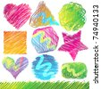 Set of Colorful Doodled Shapes - stock vector