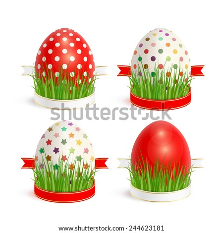 Set of colorful Easter eggs, decorated with ribbons and grass - stock photo