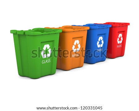 Set of colorful empty recycle bins isolated on white background - stock photo