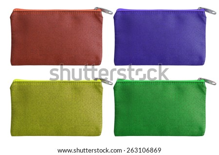set of colorful fabric bag with zipper isolated on white with clipping path  - stock photo