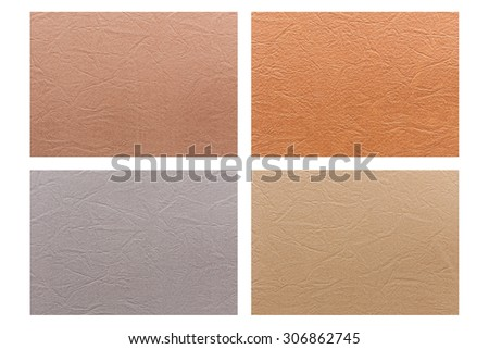 Set of colorful fabric texture isolated on white background