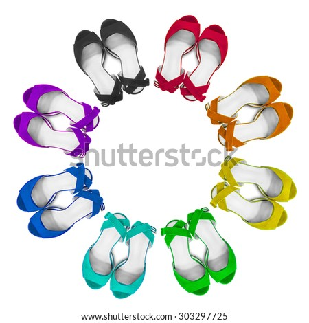 Set of colorful female sandals on white background - stock photo