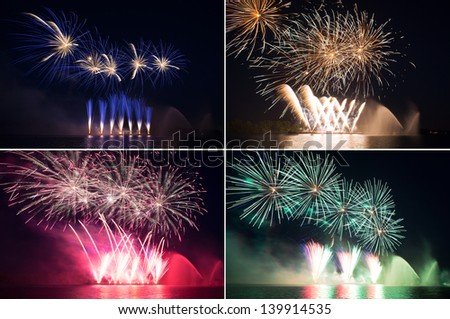set of colorful fireworks in a night sky over river