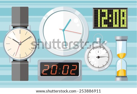 Set of colorful flat design clocks icons on stylish background. Raster version - stock photo