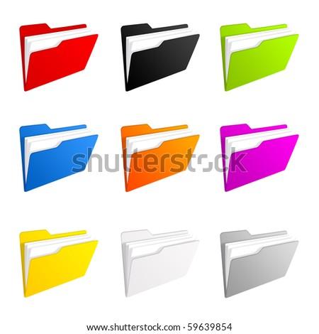Set of colorful folder icons - stock photo
