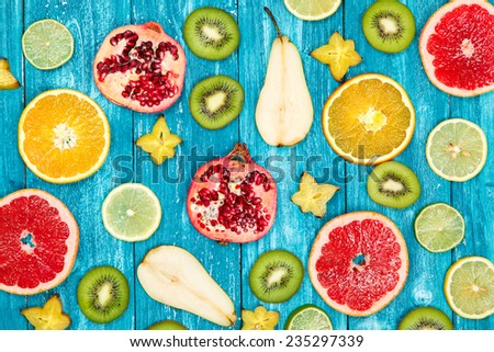 Set of colorful fruit slices - stock photo